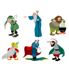 Set of six evil sorcerers vector