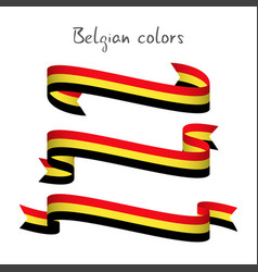 set of three ribbons with the belgian tricolor vector image