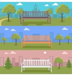Set of Urban Cityscape with Bench in Park vector
