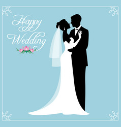 Silhouette a loving couple newlyweds groom vector