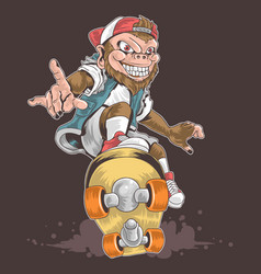 skateboard monkey pop punk vector image