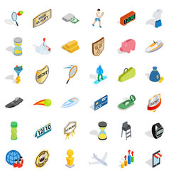 Small victory icons set isometric style vector