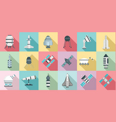 space research technology icons set flat style vector image