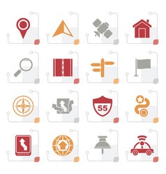 stylized gps navigation and road icons vector image