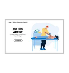 Tattoo artist tattooing woman back in salon vector