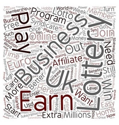 The E lottery Home Business Opportunity text vector image