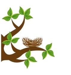Tree branch bird nest icon vector