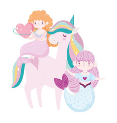 unicorn and cute mermaids with heart love adorable vector image