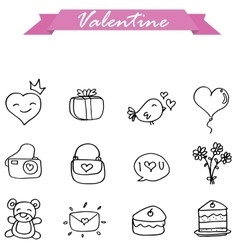 valentine hand draw vector image
