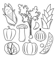 Vegetable black icon set vector