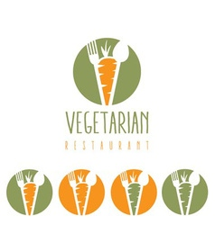 Vegetarian restaurant with carrotspoon and fork vector