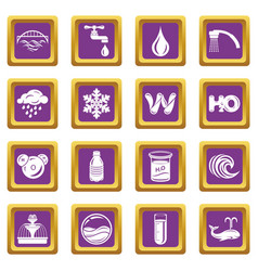 Water icons set purple square vector