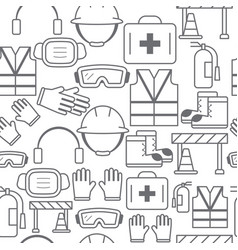 different line style icons seamless pattern safety vector image vector image