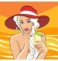 Girl with Cocktail retro vector image vector image
