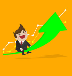 happy businessman with grow up investment vector image vector image