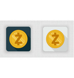 light and dark zcash crypto currency icon vector image vector image