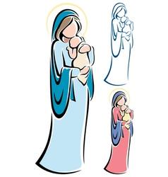 virgin mary baby jesus vector image