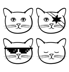 Cute icons with cats animal children linear vector