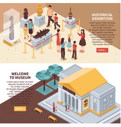 Historical exhibition isometric banners vector