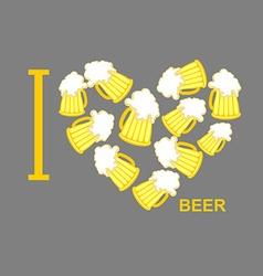 I love beer Symbol heart of steins of beer vector image vector image