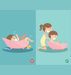 right and wrong ways for bathing your baby safely vector image vector image