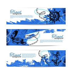 Set of travel vintage banners vector image vector image