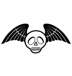 skull with wings two vector image