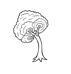 tree line art cartoon isolated on white background vector image