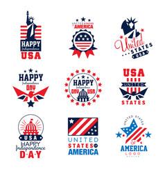 united states of america logo templates set happy vector image