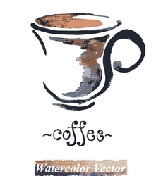 Watercolor painted a cup of coffee vector image vector image