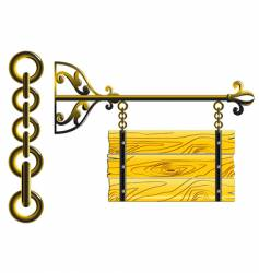 wood board on the chains vector image vector image