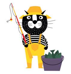 cool cartoon cat like fisherman with bucket of vector image vector image