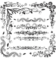 Floral corners and borders vector