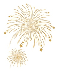 gold firework on white background vector image vector image