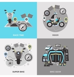 Rider Flat Set vector image