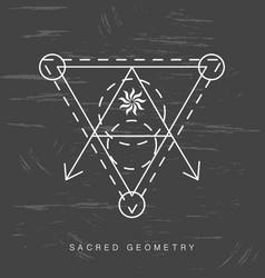 Sacred geometry sign on black grunge background vector