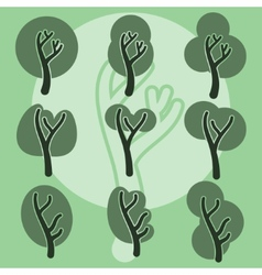 Set of cute doodle trees original cartoon tree vector image vector image