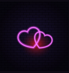 two hearts neon lamp abstract on a brick vector image vector image