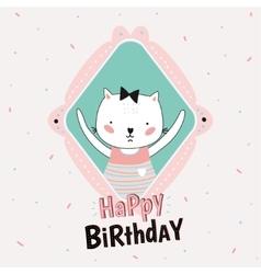 Animal Birthday greeting card design vector image