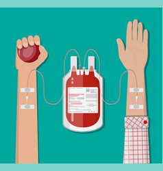 blood bag at holder and hand of donor vector image vector image