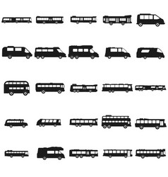 bus set black icon on white vector image