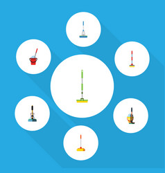 flat icon cleaner set of broom equipment sweep vector image vector image
