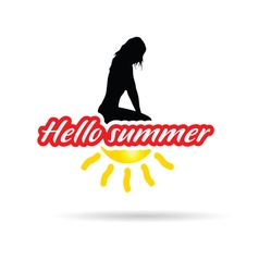 girl with hello summer sign vector image vector image