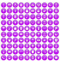 100 birthday icons set purple vector