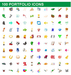 100 portfolio icons set cartoon style vector
