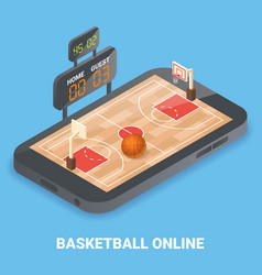 Basketball online concept flat isometric vector
