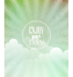 Blue vintage grungy background with sun vector