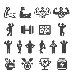 bodybuilding icon set vector image