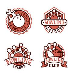 bowling emblem and design element logotype vector image vector image