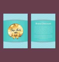 brand discount sale cover front back golden label vector image